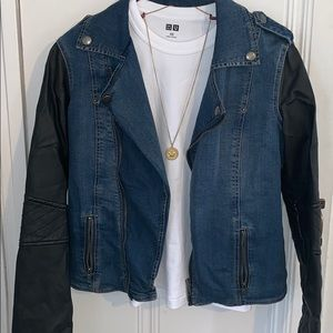 Kendall and Kylie leather and jean jacket